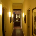Walnut flooring, skylights, Italian light fixtures, custom light fixtures,