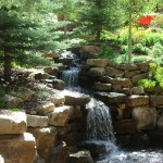 water feature, lush vegetation, water sound, flowers, running water,