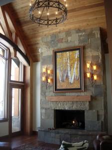 Alt text: 206 russell living room fireplace