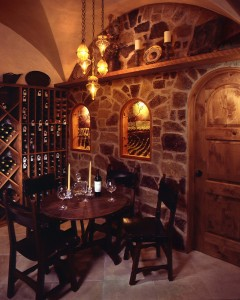 Wine Cellar with Italian ceiling hanging lights.